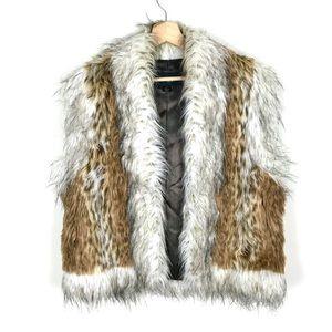 VINTAGE Cheetah Faux Fur Vest - L